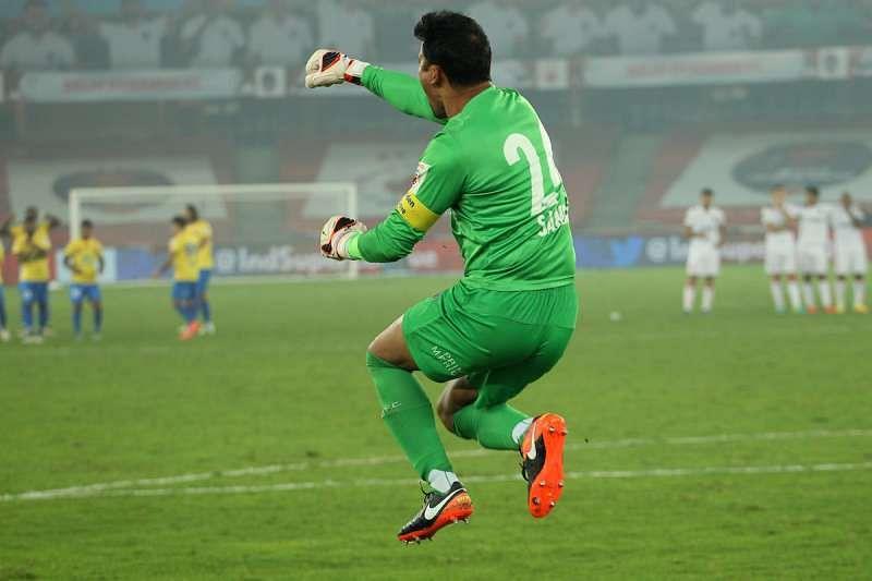 Kerala Blasters FC goalkeeper Sandip Nandy celebrates saving a penalty during the Semi-final 2nd Leg match.JPG