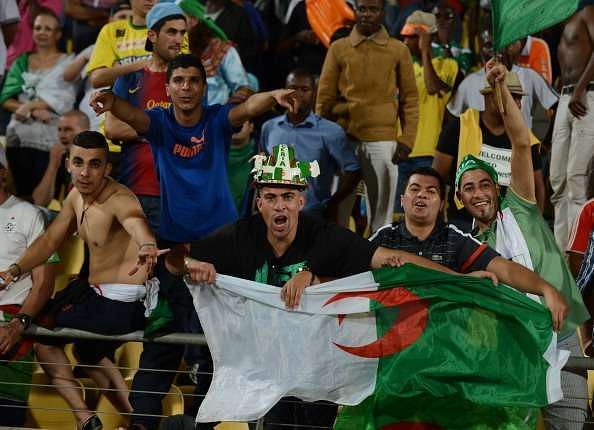 RUSTENBURG, SOUTH AFRICA - JANUARY 22:  Algeria fans during the 2013 Orange African Cup of Nations match between Tunisia and Algeria at the Royal Bafokeng Stadium on January 22, 2012 in Rustenburg, South Africa.  (Photo by Lefty Shivambu/Gallo Images/Getty Images)