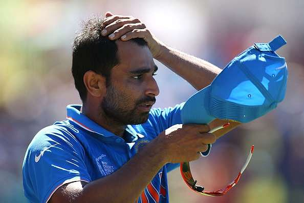 PERTH, AUSTRALIA - MARCH 06: Mohammed Shami of India looks on during the 2015 ICC Cricket World Cup match between India and the West Indies at WACA on March 6, 2015 in Perth, Australia.  (Photo by Paul Kane/Getty Images)