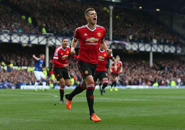 LIVERPOOL, ENGLAND - OCTOBER 17: Morgan Schneiderlin of Manchester United celebrates scoring his team