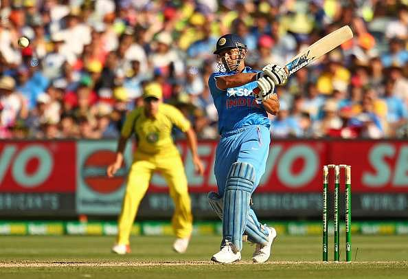 MELBOURNE, AUSTRALIA - JANUARY 17:  MS Dhoni of India bats during game three of the One Day International Series between Australia and India at the Melbourne Cricket Ground on January 17, 2016 in Melbourne, Australia.  (Photo by Scott Barbour/Getty Images)