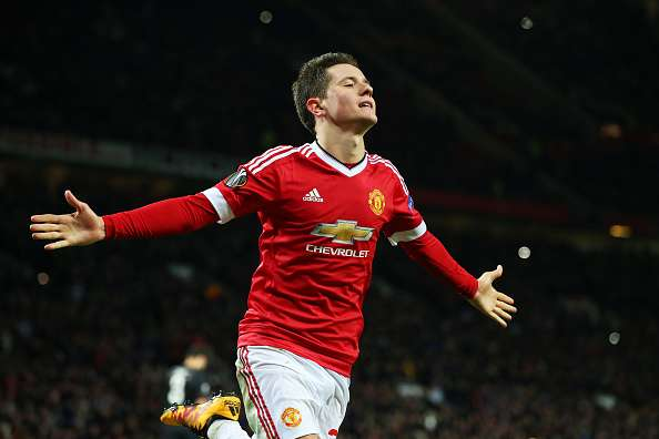 MANCHESTER, ENGLAND - FEBRUARY 25:  Ander Herrera of Manchester United celebrates scoring his team