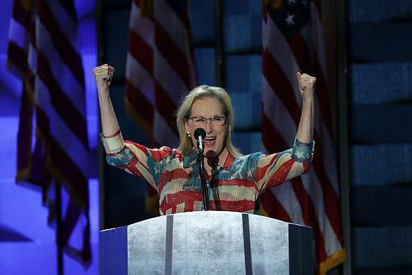 PHILADELPHIA, PA - JULY 26: Actress Meryl Streep arrives on stage to deliver remarks on the second day of the Democratic National Convention at the Wells Fargo Center, July 26, 2016 in Philadelphia, Pennsylvania. Democratic presidential candidate Hillary Clinton received the number of votes needed to secure the party