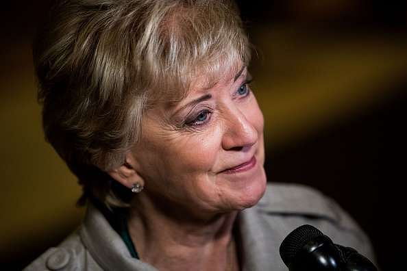 NEW YORK, NY - NOVEMBER 30: Linda McMahon, former CEO of World Wrestling Entertainment (WWE), speaks to reporters at Trump Tower, November 30, 2016 in New York City. President-elect Donald Trump and his transition team are in the process of filling cabinet and other high level positions for the new administration. (Photo by Drew Angerer/Getty Images)