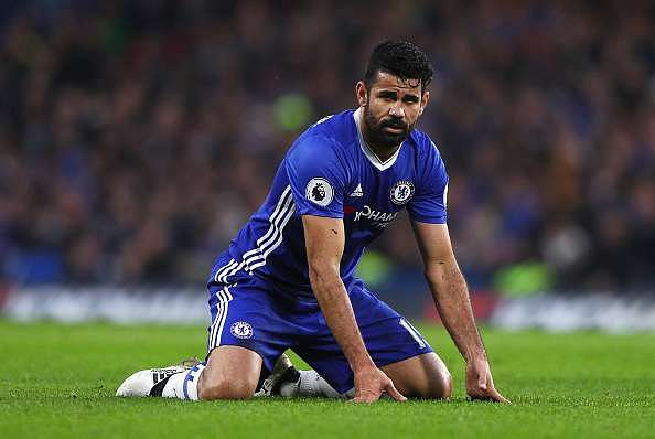 LONDON, ENGLAND - DECEMBER 31: Diego Costa of Chelsea reacts during the Premier League match between Chelsea and Stoke City at Stamford Bridge on December 31, 2016 in London, England.  (Photo by Ian Walton/Getty Images)
