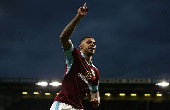 BURNLEY, ENGLAND - DECEMBER 31:  Andre Gray of Burnley celeberates scoring his team