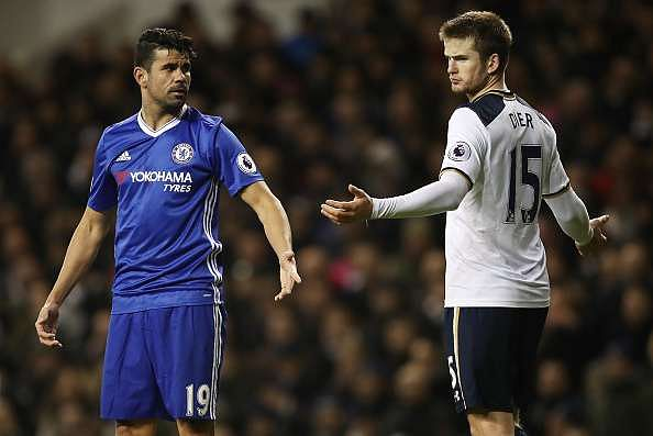 LONDON, ENGLAND - JANUARY 04:  Diego Costa of Chelsea (L) and Eric Dier of Tottenham Hotspur (R) exchange wrords during the Premier League match between Tottenham Hotspur and Chelsea at White Hart Lane on January 4, 2017 in London, England.  (Photo by Julian Finney/Getty Images)