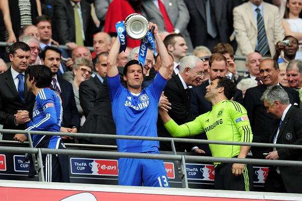 LONDON, ENGLAND - MAY 15:  Michael Ballack of Chelsea celebrate winning the FA Cup sponsored by E.ON Final match between Chelsea and Portsmouth at Wembley Stadium on May 15, 2010 in London, England.  (Photo by Shaun Botterill/Getty Images)