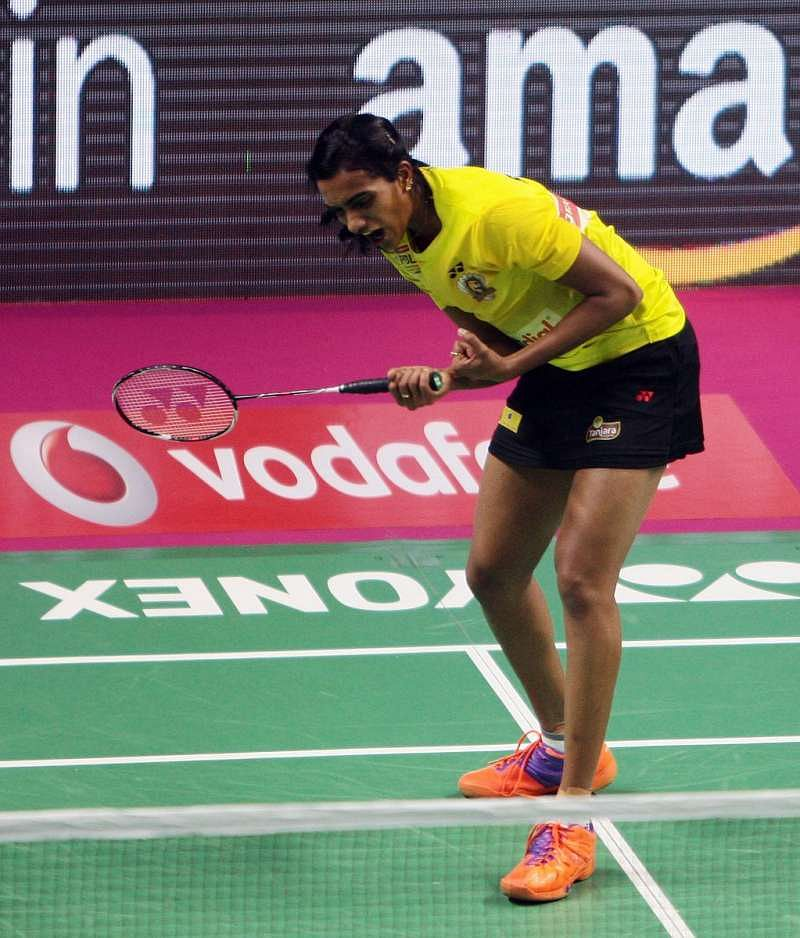 PV Sindhu in action during the PBL final on Saturday. (Image courtesy: PBL Twitter)