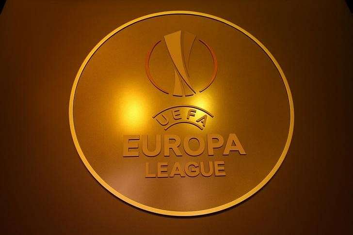 The UEFA Europa League logo is seen before the draw ceremony is seen before the draw for the 2016/2017 UEFA Europa League soccer competition at Monaco
