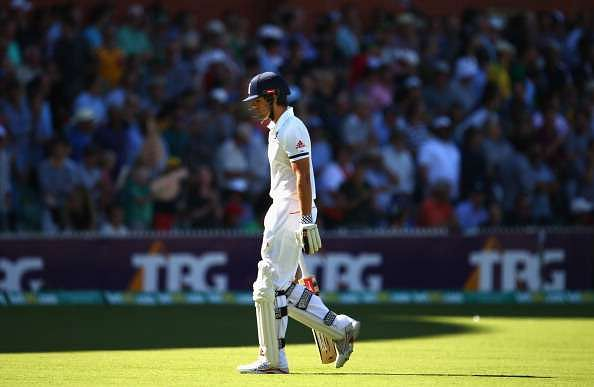 ADELAIDE, AUSTRALIA - DECEMBER 06:  Alastair Cook of England looks dejected after being dismissed by Mitchell Johnson of Australia  during day two of the Second Ashes Test Match between Australia and England at Adelaide Oval on December 6, 2013 in Adelaide, Australia.  (Photo by Ryan Pierse/Getty Images)