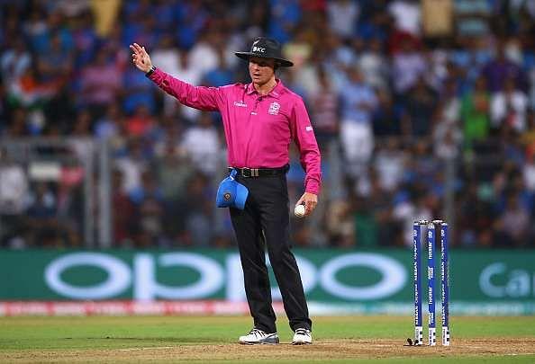 Umpire Richard Kettleborough calls a no-ball after Lendl Simmons was caught off the bowling of Ravichandran Ashwin