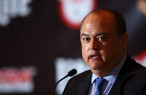 LONDON, ENGLAND - APRIL 18:  Scott Coker speaks during the Bellator 158 MMA Press Conference at the Four Seasons Hotel on April 18, 2016 in London, England.  (Photo by Jordan Mansfield/Getty Images)
