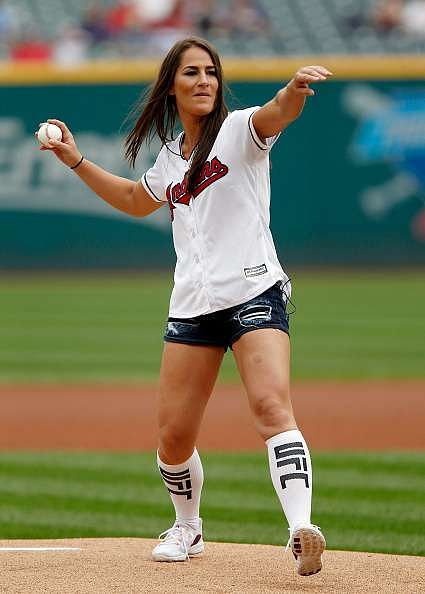 CLEVELAND, OH - SEPTEMBER 08: UFC fighter Jessica Eye throws out the ceremonial first pitch before the start of the game between the Cleveland Indians and the Houston Astros at Progressive Field on September 8, 2016 in Cleveland, Ohio. (Photo by David Maxwell/Getty Images)