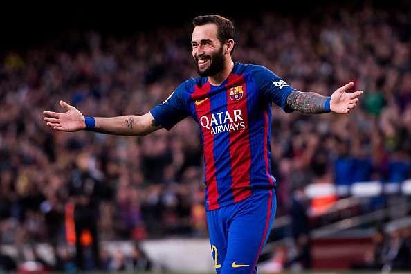 BARCELONA, SPAIN - FEBRUARY 04: Aleix Vidal of FC Barcelona celebrates after scoring his team