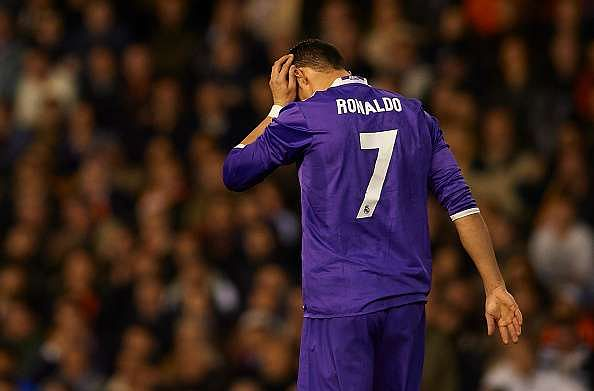 VALENCIA, SPAIN - FEBRUARY 22:  Cristiano Ronaldo of Real Madrid reacts during the La Liga match between Valencia CF and Real Madrid at Mestalla Stadium on February 22, 2017 in Valencia, Spain.  (Photo by Manuel Queimadelos Alonso/Getty Images)