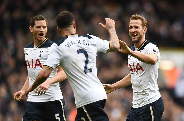 LONDON, ENGLAND - FEBRUARY 26:  Harry Kane of Tottenham Hotspur celebrates as he scores his teams third goal and completes his hattrick with teammates Kyle Walker and Jan Vertonghen during the Premier League match between Tottenham Hotspur and Stoke City at White Hart Lane on February 26, 2017 in London, England.  (Photo by Michael Regan/Getty Images)