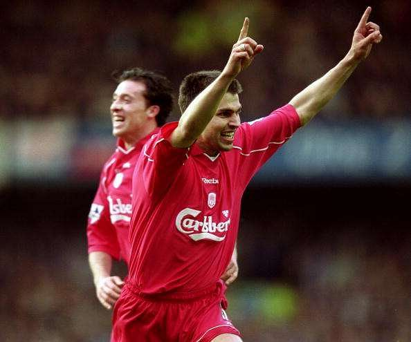 16 Apr 2001:  Markus Babbel of Liverpool celebrates his goal during the FA Carling Premiership match against Everton played at Goodison Park, in Liverpool, England. Liverpool won the match 3-2. \ Mandatory Credit: Clive Brunskill /Allsport