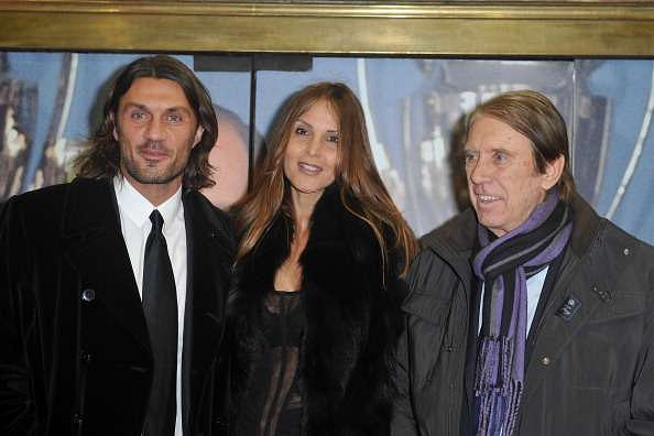 Paolo Maldini with his father Cesare and his wife, Adrianna Fossa