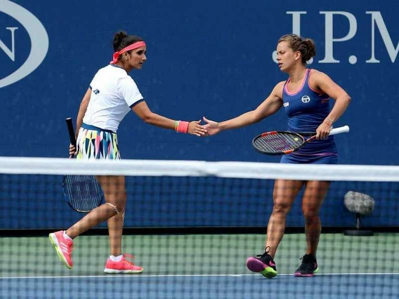 Sania Mirza (left) and Barbora Strycova in action at an earlier tournament.