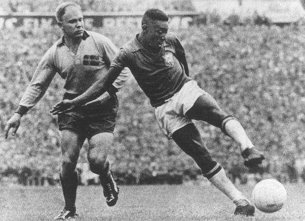 Pele on the ball in the 1958 World Cup