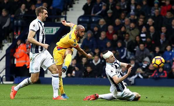 WEST BROMWICH, ENGLAND - MARCH 04: Andros Townsend of Crystal Palace (C) scores his sides second goal during the Premier League match between West Bromwich Albion and Crystal Palace at The Hawthorns on March 4, 2017 in West Bromwich, England.  (Photo by Christopher Lee/Getty Images)