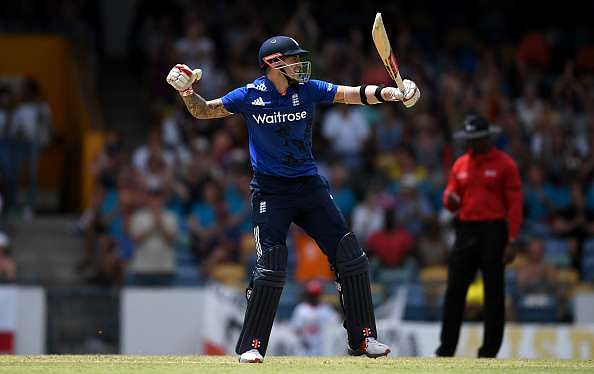 BRIDGETOWN, BARBADOS - MARCH 09:  Alex Hales of England celebrates reaching his century during the 3rd One Day International between the West Indies and England at Kensington Oval on March 9, 2017 in Bridgetown, Barbados.  (Photo by Gareth Copley/Getty Images)