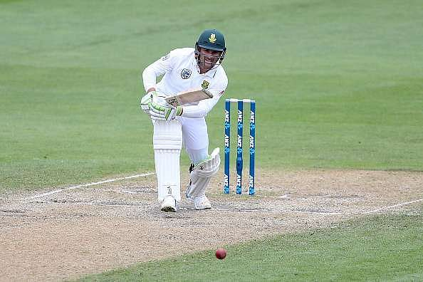 DUNEDIN, NEW ZEALAND - MARCH 11:  Dean Elgar of South Africa bats during day four of the First Test match between New Zealand and South Africa at University Oval on March 11, 2017 in Dunedin, New Zealand.  (Photo by Dianne Manson/Getty Images)