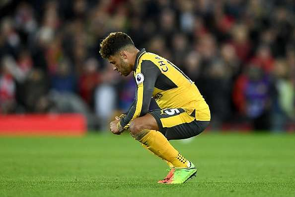 LIVERPOOL, ENGLAND - MARCH 04: Alex Oxlade-Chamberlain of Arsenal looks dejected after the Premier League match between Liverpool and Arsenal at Anfield on March 4, 2017 in Liverpool, England.  (Photo by Laurence Griffiths/Getty Images)