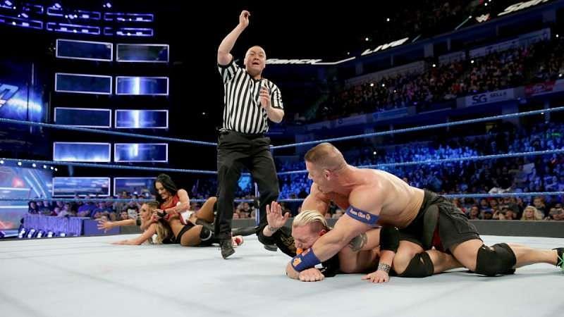 John Cena and Nikki Bella beat James Ellsworth and Carmella
