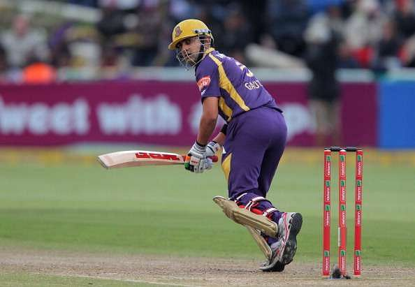 CAPE TOWN, SOUTH AFRCA - OCTOBER 21:  Gautam Gambhir of the Kolkata Knight Riders in action during the Champions league twenty20 match between CLT20 Kolkata Knight Riders v Nashua Titans at Sahara Park Newlands on October 21, 2012 in Cape Town, South Africa. (Photo by Carl Fourie / Gallo Images/Getty Images)