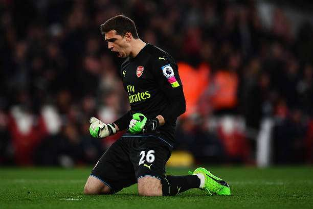 LONDON, ENGLAND - APRIL 05: Emiliano Martinez of Arsenal celebrates his sides first goal during the Premier League match between Arsenal and West Ham United at the Emirates Stadium on April 5, 2017 in London, England.  (Photo by Dan Mullan/Getty Images)