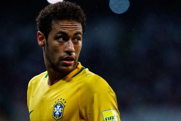 SAO PAULO, BRAZIL - MARCH 28: Neymar of Brazil looks on during a match between Brazil and Paraguay as part of 2018 FIFA World Cup Russia Qualifier at Arena Corinthians on March 28, 2017 in Sao Paulo, Brazil. (Photo by Buda Mendes/Getty Images)