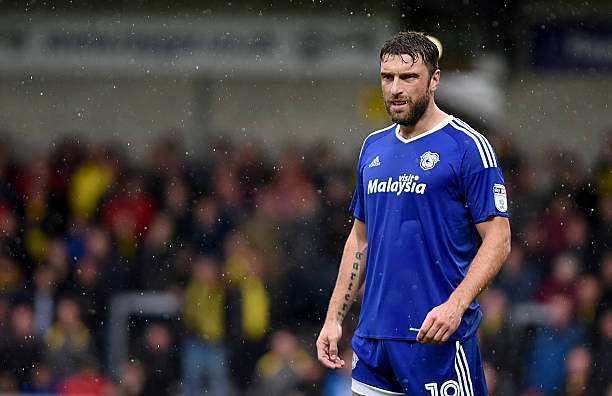 BURTON-UPON-TRENT, ENGLAND - October 1:  Rickie Lambert of Cardiff City looks on during the Sky Bet Championship match between Burton Albion and Cardiff City at Pirelli Stadium on October 1, 2016 in Burton-upon-Trent, England. (Photo by Nathan Stirk/Getty Images)