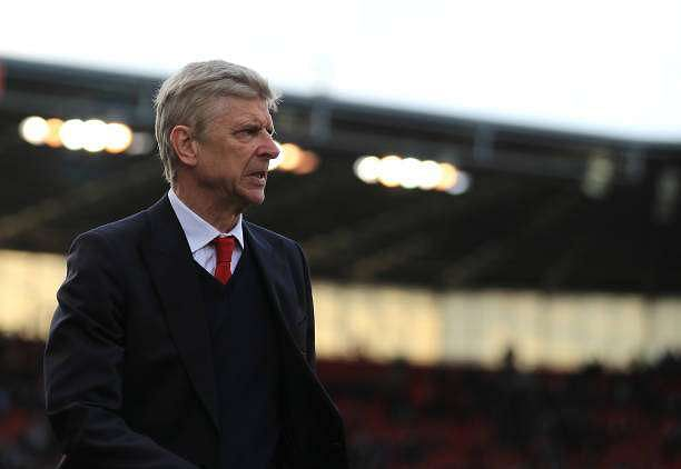 STOKE ON TRENT, ENGLAND - MAY 13: Arsene Wenger, Manager of Arsenal looks on during the Premier League match between Stoke City and Arsenal at Bet365 Stadium on May 13, 2017 in Stoke on Trent, England.  (Photo by Richard Heathcote/Getty Images)