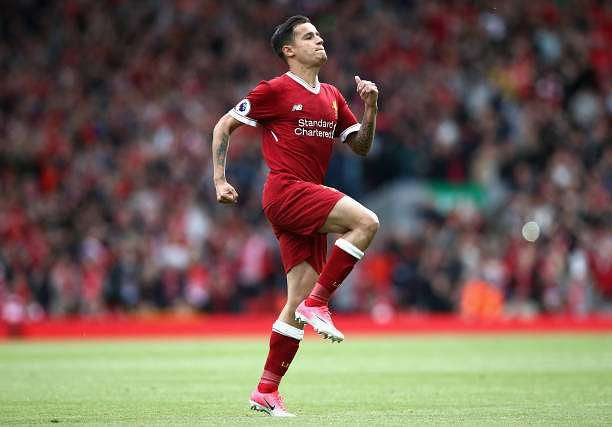LIVERPOOL, ENGLAND - MAY 21:  Philippe Coutinho of Liverpool celebrates scoring his sides second goal during the Premier League match between Liverpool and Middlesbrough at Anfield on May 21, 2017 in Liverpool, England.  (Photo by Jan Kruger/Getty Images)