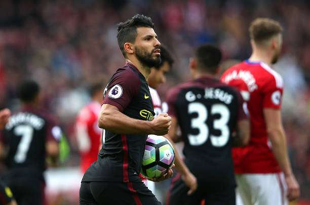 MIDDLESBROUGH, ENGLAND - APRIL 30:  Sergio Aguero of Manchester City celebrates scoring his sides first goal from the penalty spot during the Premier League match between Middlesbrough and Manchester City at the Riverside Stadium on April 30, 2017 in Middlesbrough, England.  (Photo by Alex Livesey/Getty Images)