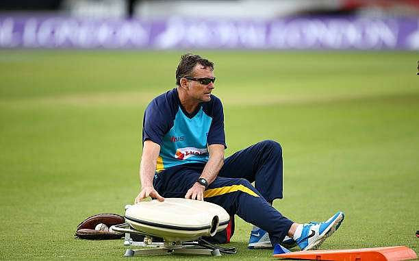 LONDON, ENGLAND - JUNE 28: Sri Lanka head coach Graham Ford in action during a warm up exercise during an England & Sri Lanka Nets Session at The Kia Oval on June 28, 2016 in London, England. (Photo by Charlie Crowhurst/Getty Images)