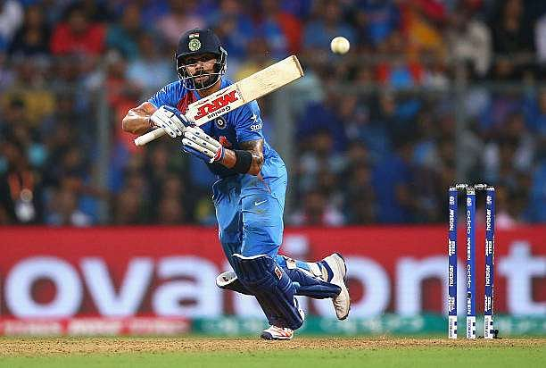 MUMBAI, INDIA - MARCH 31:  Virat Kohli of India bats during the ICC World Twenty20 India 2016 Semi Final match between West Indies and India at Wankhede Stadium on March 31, 2016 in Mumbai, India.  (Photo by Ryan Pierse/Getty Images)