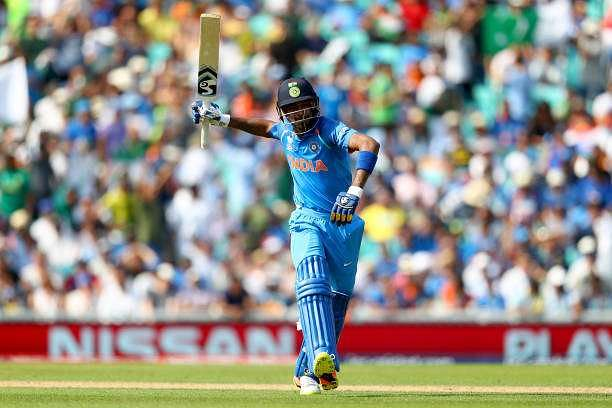 LONDON, ENGLAND - JUNE 18:  Hardik Pandya of India swings his bat in frustration after being run out during the ICC Champions trophy cricket match between India and Pakistan at The Oval in London on June 18, 2017  (Photo by Clive Rose/Getty Images)