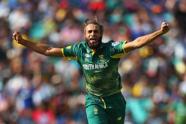 LONDON, ENGLAND - JUNE 03:  Imran Tahir of South Africa celebrates the wicket of Asela Gunaratne of Sri Lanka during the ICC Champions trophy cricket match between Sri Lanka and South Africa at The Oval in London on June 3, 2017  (Photo by Clive Rose/Getty Images)