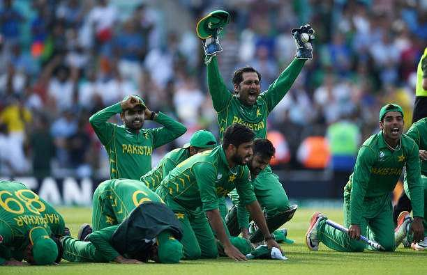 LONDON, ENGLAND - JUNE 18:  Pakistan captain Sarfraz Ahmed celebrates with a prayer after winning the ICC Champions Trophy Final between India and Pakistan at The Kia Oval on June 18, 2017 in London, England.  (Photo by Gareth Copley/Getty Images)