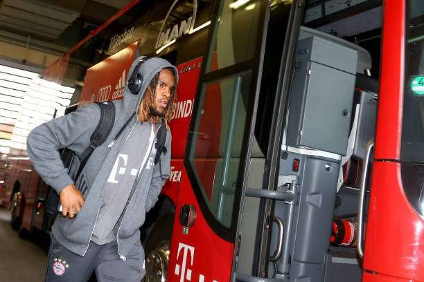 WOLFSBURG, GERMANY - APRIL 29:  Renato Sanchez of Bayern Muenchen walks out of the bus prior to the Bundesliga match between VfL Wolfsburg and Bayern Muenchen at Volkswagen Arena on April 29, 2017 in Wolfsburg, Germany.  (Photo by Christof Koepsel/Getty Images for MAN)
