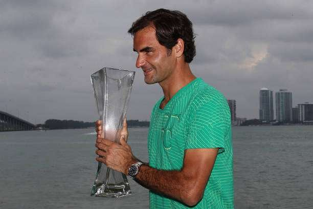 KEY BISCAYNE, FL - APRIL 02:  Roger Federer of Switzerland with the trophy after defeating Rafael Nadal of Spain in the final at The Rusty Pelican on April 2, 2017 in Key Biscayne, Florida.  (Photo by Julian Finney/Getty Images)