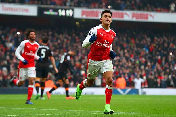LONDON, ENGLAND - FEBRUARY 11:  Alexis Sanchez of Arsenal celebrates scoring his side