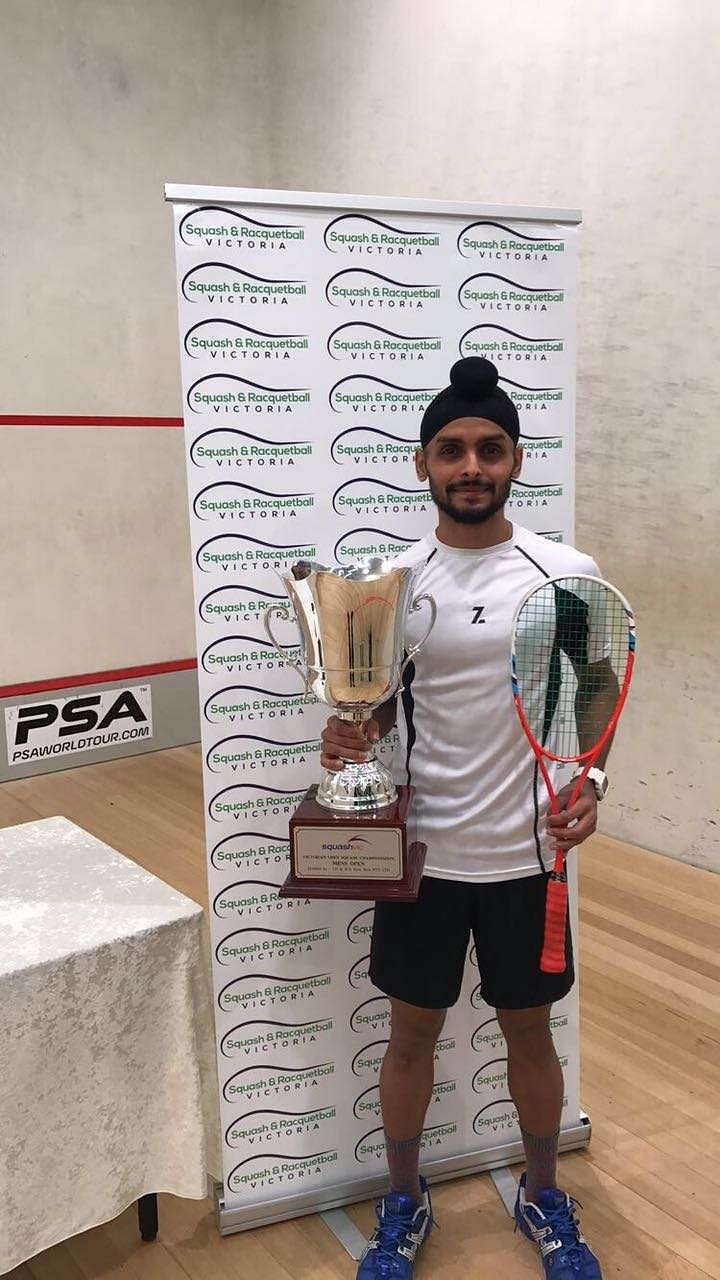 Harinder Pal Sandhu with the trophy at the Victorian Open in Melbourne, Australia on Sunday.