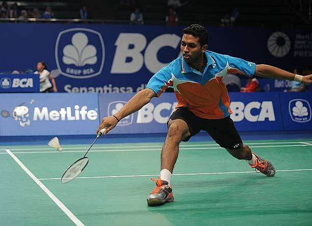 JAKARTA, INDONESIA - JUNE 17:  HS Prannoy of India returns a shot against Henri Hurskainen of Sweden during the men single qualifying round of BCA Indonesia Open 2014 MetLife BWF World Super Series Premier at Istora Gelora Bung Karno Stadium on June 17, 2014 in Jakarta, Indonesia.  (Photo by Robertus Pudyanto/Getty Images)