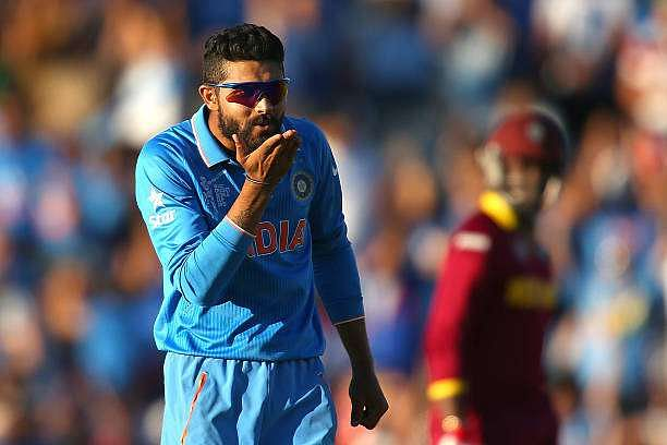 PERTH, AUSTRALIA - MARCH 06: Ravindra Jadeja of India blows a kiss after dismissing Jason Holder of the West Indies during the 2015 ICC Cricket World Cup match between India and the West Indies at WACA on March 6, 2015 in Perth, Australia.  (Photo by Paul Kane/Getty Images)