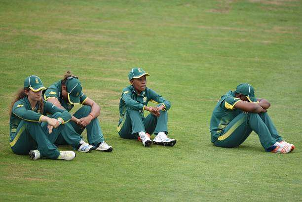 A dejected South African team after the loss