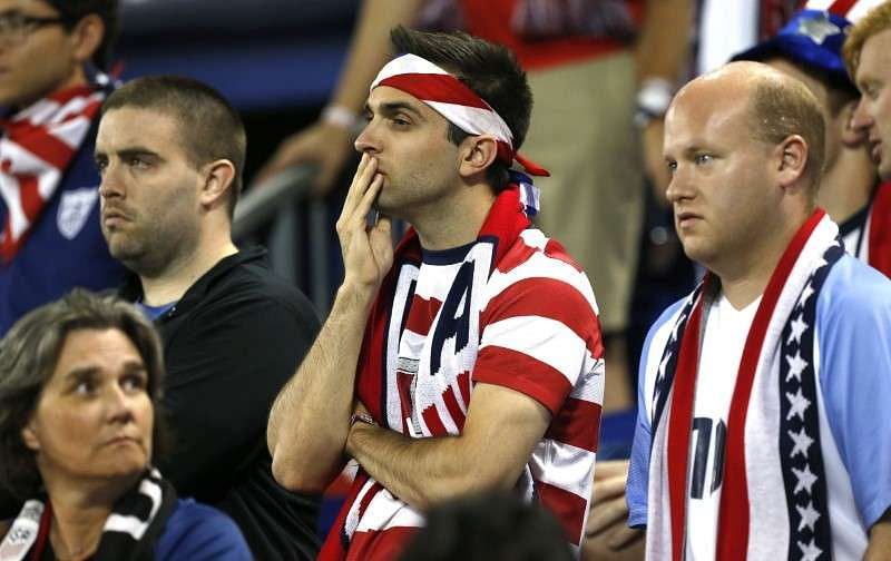 Sep 1, 2017; Harrison, NJ, USA; USA fans watch second half of play against Costa Rica at Red Bull Arena. Costa Rica defeated USA 2-0. Noah K. Murray-USA TODAY Sports